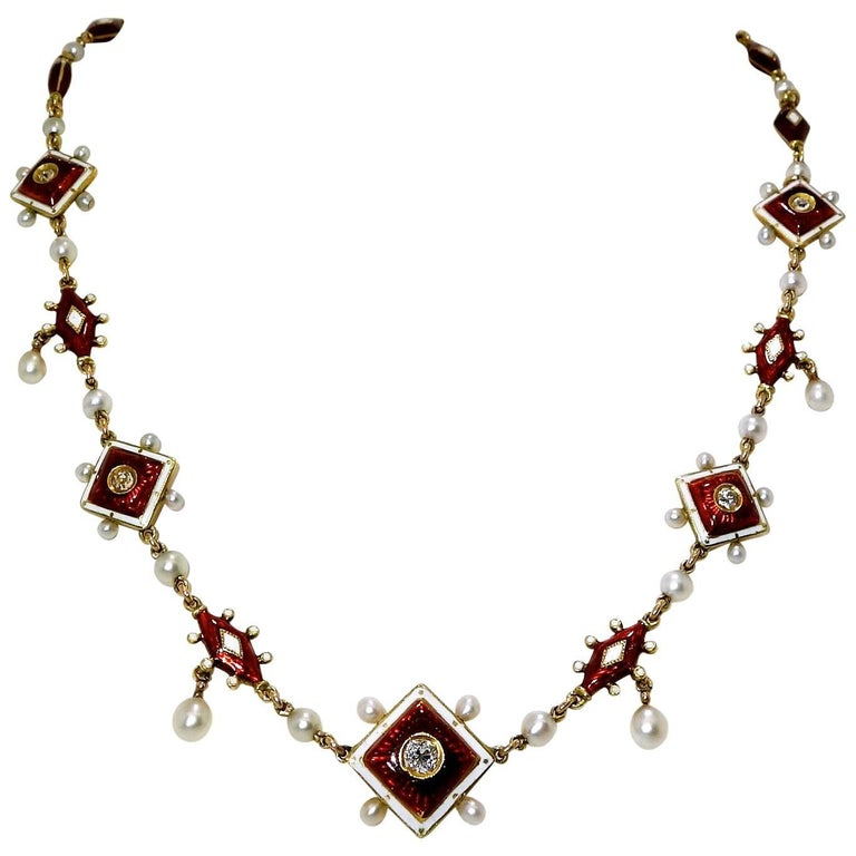 Antique Enamel, Diamond and Natural Pearl Necklace, circa 1880