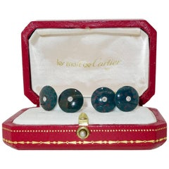 Cartier Diamond and Blood-Stone Gold and Platinum Cufflinks, circa 1935