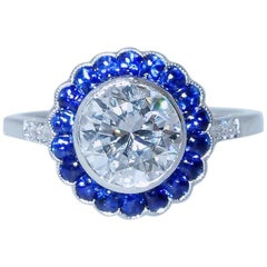 GIA Certified Colorless Diamond and Sapphire Ring