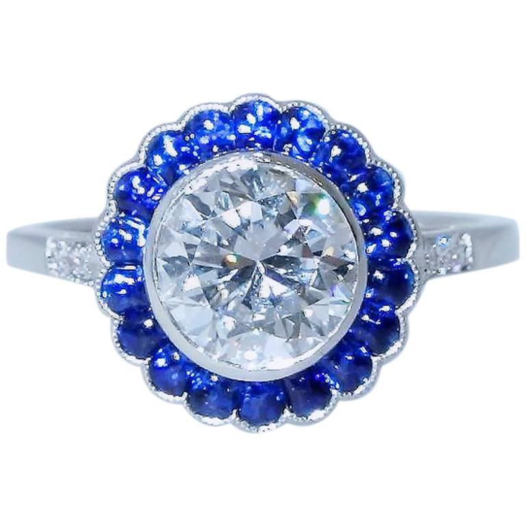 GIA Certified Colorless Diamond and Sapphire Ring For Sale