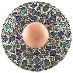 Diamonds Sapphires Emeralds Coral Rose Gold and Silver Circular Shape Ring