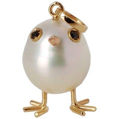Baby Chick Australian Pearl Black Diamond Yellow Gold Pendant or Charm