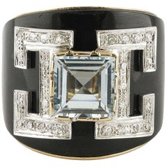 Ring in Rose Gold, Diamonds, Onyx and Aquamarine