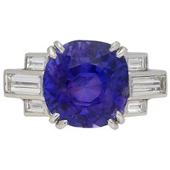 Art Deco Color Change Sapphire and Diamond Ring, English, circa 1930