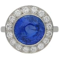 Vintage Sapphire and Diamond Coronet Cluster Ring, circa 1950