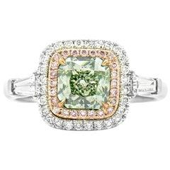GIA Certified White Gold Greyish Yellowish Green Ring