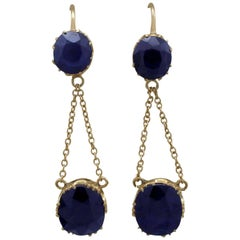 1900s Antique 5.60 Carat Sapphire and Yellow Gold Drop Earrings