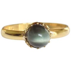 18K Victorian Gold Crysoberyl Cat`s Eye Ring