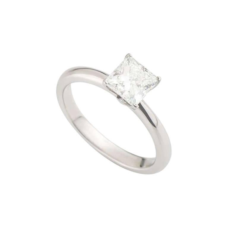 Tiffany & Co. Platinum Princess Cut Diamond Engagement Ring 1.05 Carat