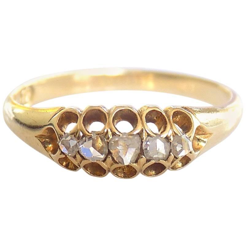 Victorian Five Rose Cut Diamond 18K Gold Ring