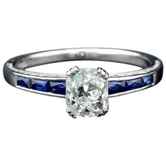 1 Carat Old European Cut Diamond Sapphire Cocktail Ring