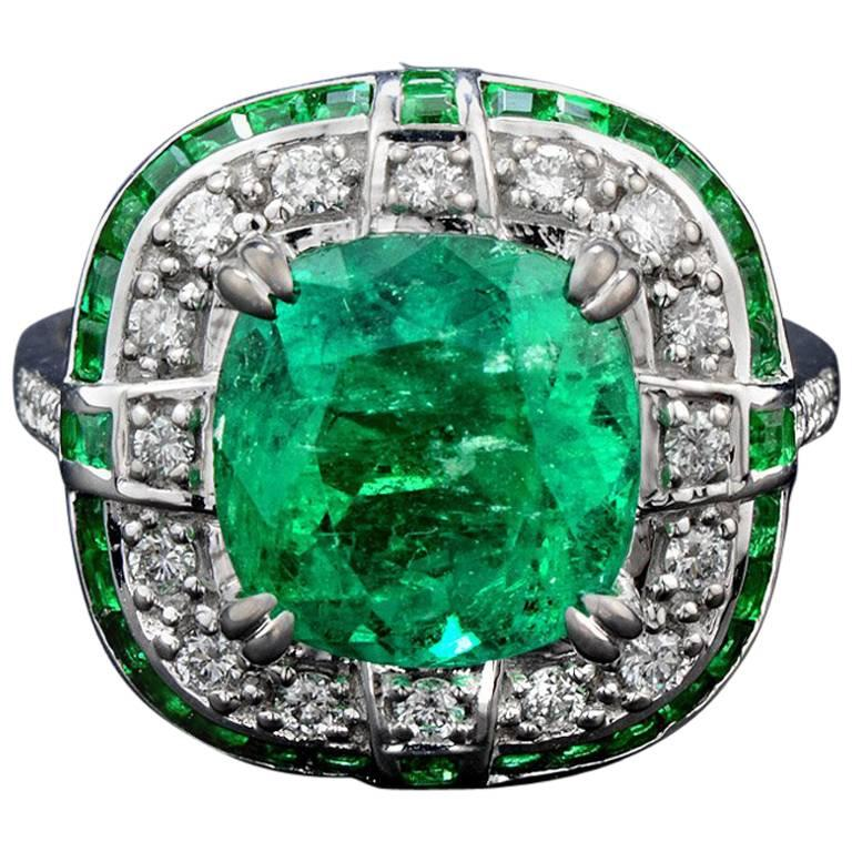 4.15 Carat Colombian Emerald Diamond Cocktail Ring