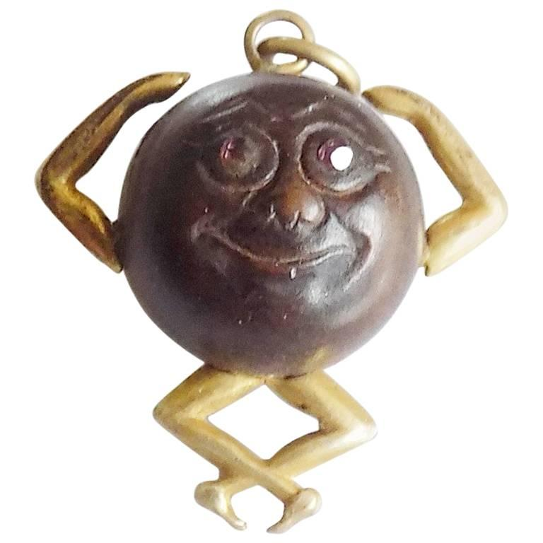 Antique WWI Gold Mr Touch Wud Wood Lucky Charm Pendant For Sale