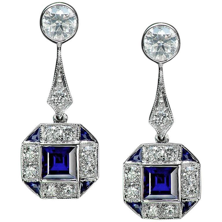 Thai Blue Sapphire and Diamond White Gold Earrings