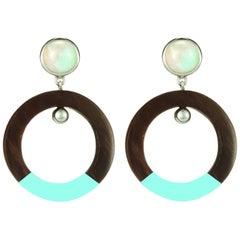 Fouche Moonstone Lacquer Dangle Hoop Horn Earrings