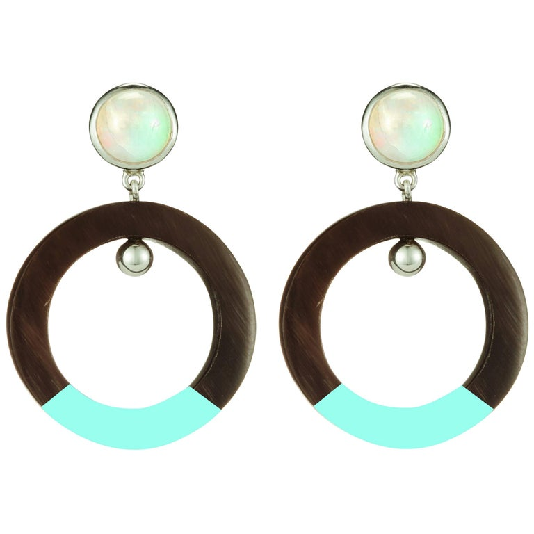 Fouche Moonstone Lacquer Dangle Hoop Horn Earrings