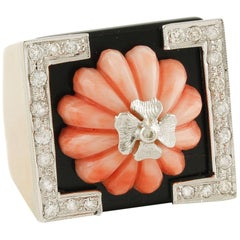 Rose Gold Ring with Diamonds, Coral and Onyx