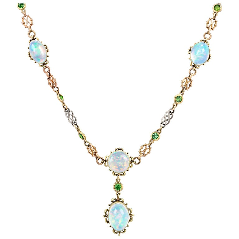 Austrian Opal and Garnet Necklace