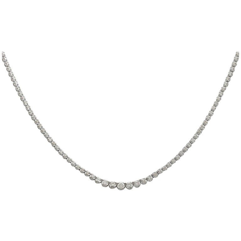 Contemporary 2.60 Carat Diamond White Gold Line Necklace