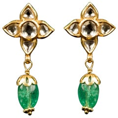 Gold Earrings with Diamond Flower on Top and Emerald Cabouchon Pendant