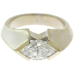 2.02 Total Carat Marquise Diamond Ring in White Gold