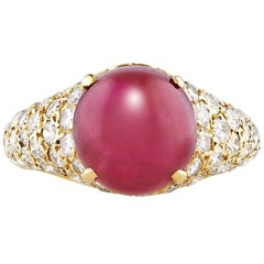 Cartier Cabochon Ruby Diamond Ring