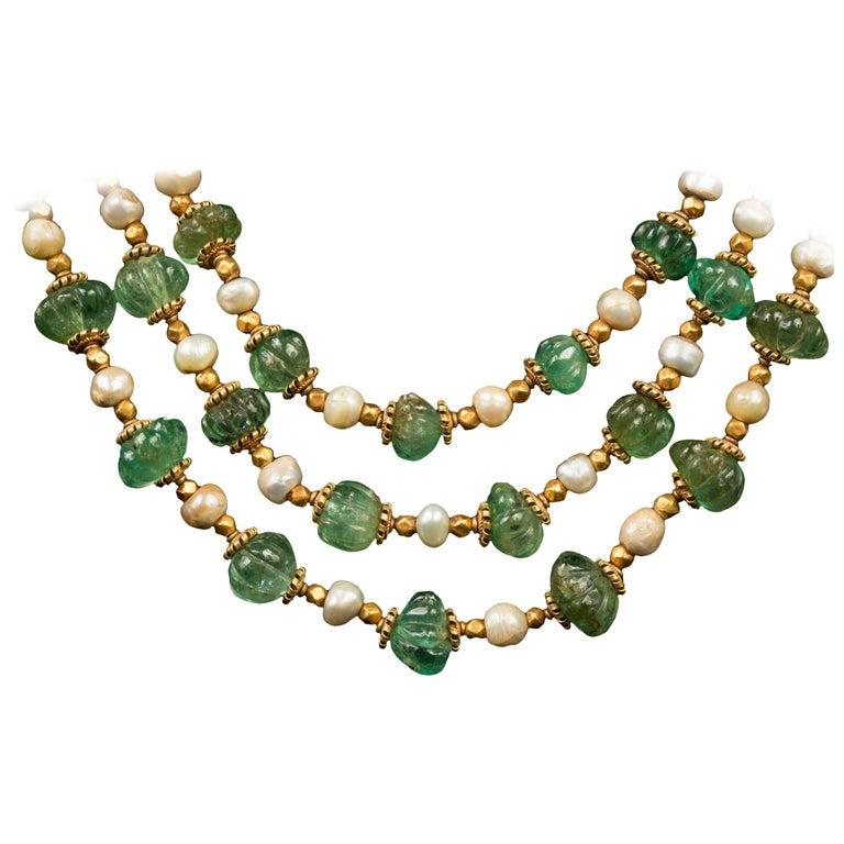 Three Strand Emerald Necklace