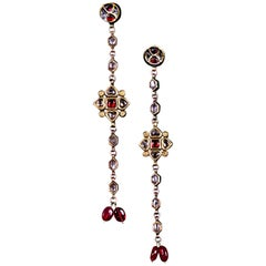 Flower Earrings with Diamonds and Rubies
