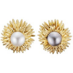 Van Cleef & Arpels 1960s 18 Carat Yellow Gold-White and Grey Pearls Earrings