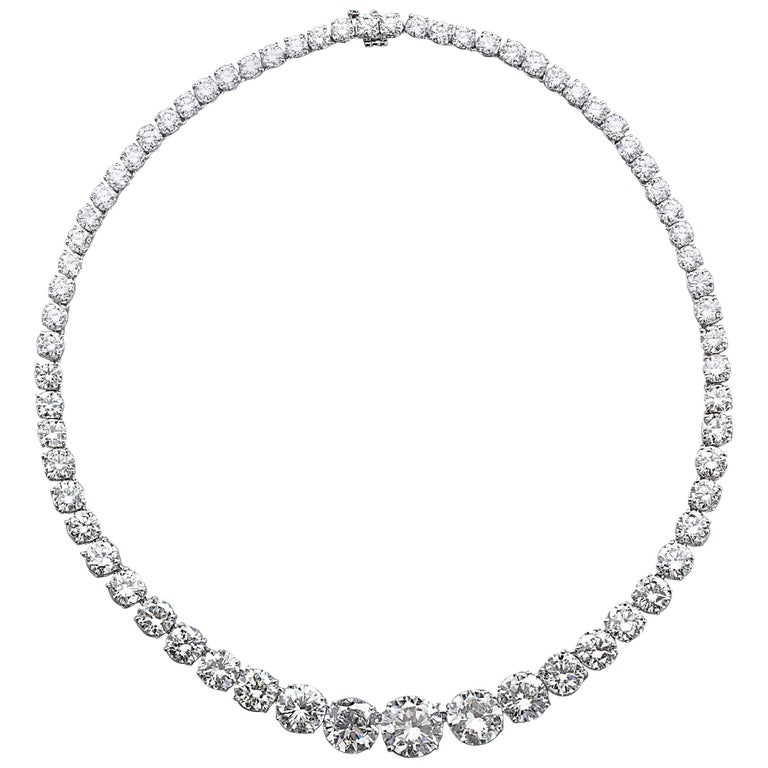 Diamond Platinum Rivière Necklace 64 Carat