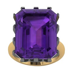 Natural Purple Amethyst Emerald Cut in Two-Tone 18 Karat Yellow and Black Gold