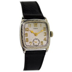 Elgin White Gold Filled Art Deco Cushion Shaped Manual Watch, circa 1920s