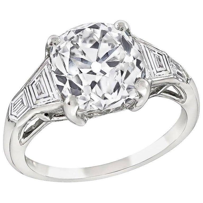 GIA 3.40 Carat Old Mine Diamond Platinum Engagement Ring