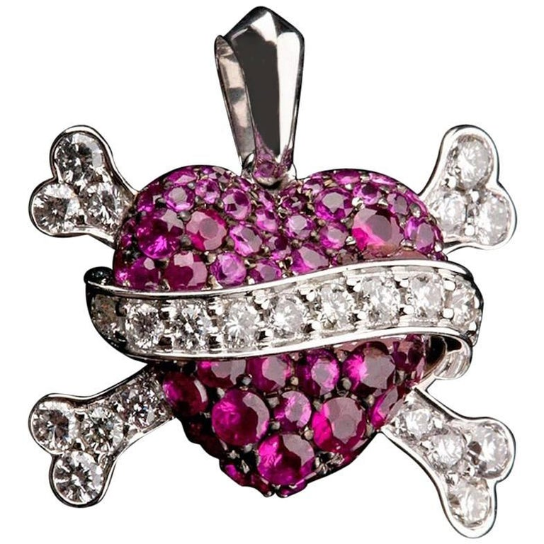 Ruby Heart Pendant with White Diamond Band/Crossed Bones in 18 Karat Gold