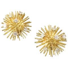 1970s Modernist Sputnik Sunburst Diamond Gold Clip Post Earrings
