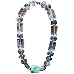 Rutilated Quartz Crystal with Emerald