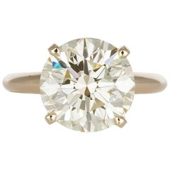 GIA Certified 14 Karat Gold and Diamond Solitaire Engagement Ring 5.11 Carat