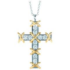 Tiffany & Co. Schlauberger 18 Karat Diamond Cross Necklace