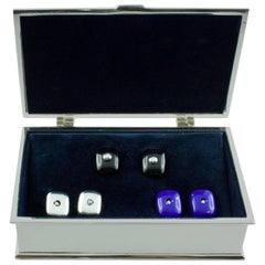 White Diamond Lapis Lazuli Onyx Silver Box Cufflinks