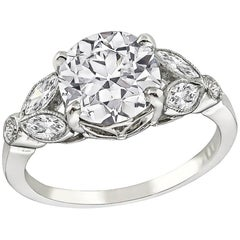 GIA Certified 2.18 Carat Diamond Platinum Engagement Ring