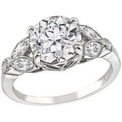 GIA Certified 2.18 Carat Diamond Platinum Engagement Ring
