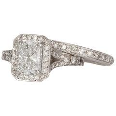 GIA Certified 14K White Gold & Radiant Diamond Halo Engagement Ring Wedding Set