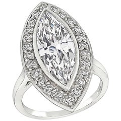 2.95 Carat Marquise Cut Diamond Halo Engagement Ring