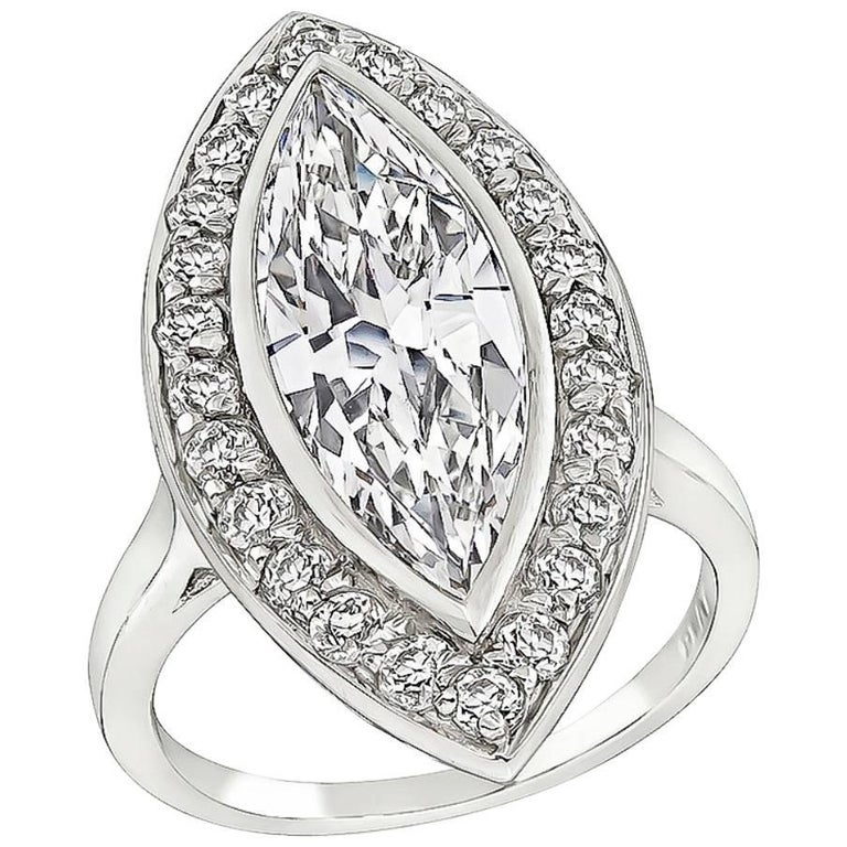 2.95 Carat Marquise Cut Diamond Halo Engagement Ring For Sale