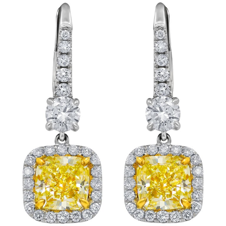 GIA Certified 2.55 Carat Canary Yellow Diamond Earrings