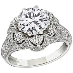 1.64 Carat GIA D-VVS2 Diamond Gold Engagement Ring
