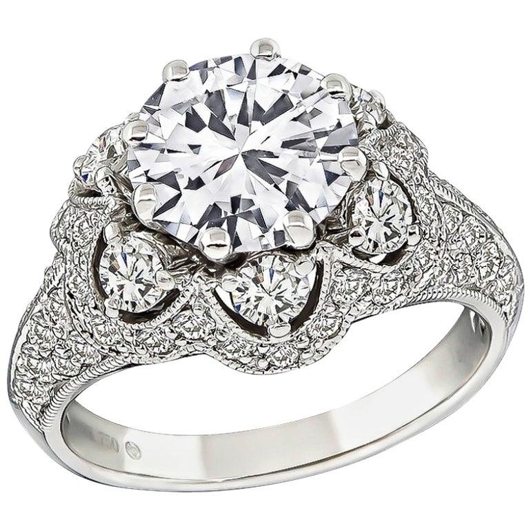 1.64 Carat GIA D-VVS2 Diamond Gold Engagement Ring