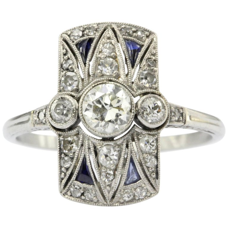 Art Deco 18 Karat White Gold Diamond and Sapphire Ring