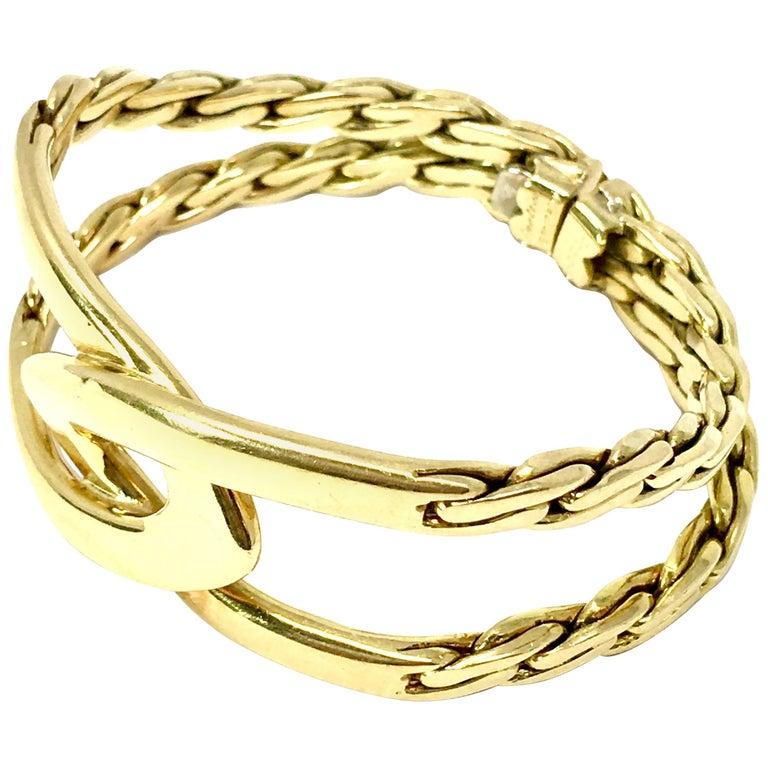 Vintage 1970s Cartier Double C 18 Karat Yellow Gold Bracelet