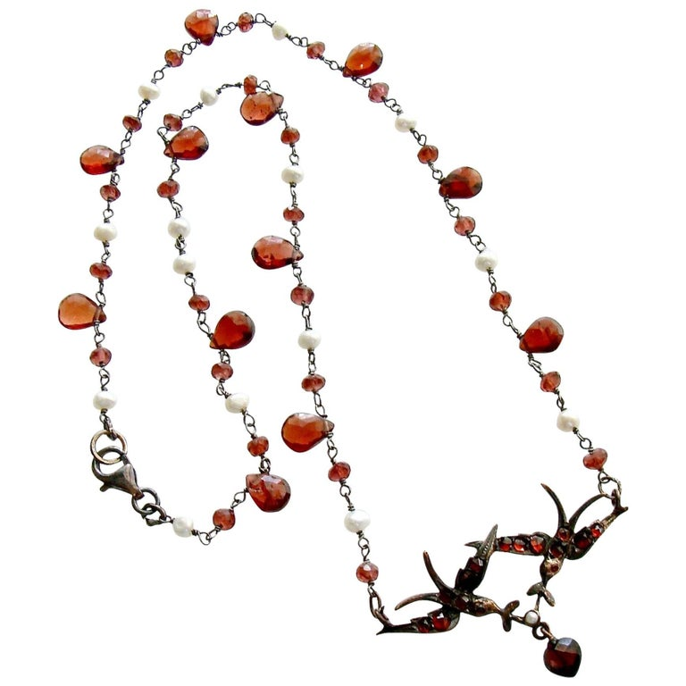 Saint Esprit Victorian Style Garnet Doves Necklace For Sale